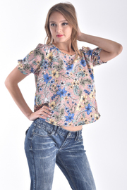 ROUND NECK SHORT PUFF SLEEVE FLORAL TOP