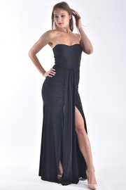 STRAPLESS TUBE TOP SLIT IN THE FRONT MAXI DRESS