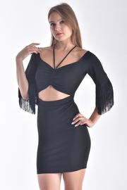 OFF SHOULDER HALTER NECKLINE DRESS