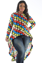 PLUS SIZE LONG SLEEVE HI-LOW POLKA DOTS TOP