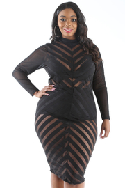 PLUS SIZE MOCK NECK MESH SOLID CONTRASTED MIDI DRESS