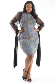 PLUS SIZE SEQUIN MESH CONTRASTED DRESS