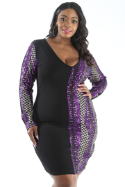 PLUS SIZE SEQUIN SOLID CONTRASTED DRESS