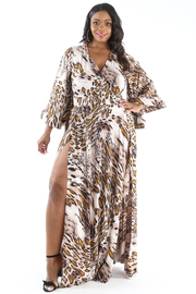 PLUS SIZE WIDE SLEEVE TWO SLITS LEOPARD MAXI DRESS