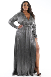 PLUS SIZE OVERLAPPED TOP TWO SLITS METALLIC MAXI DRESS