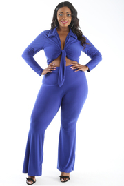 PLUS SIZE TIE FRONT COLLAR TOP AND FLARED PANTS SET