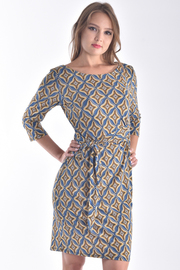 BOAT NECK 3/4 SLEEVE GEOMETRIC DRESS