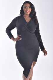 PLUS SIZE LONG SLEEVE OVERLAP FRONT ASSYMETRICAL DRESS