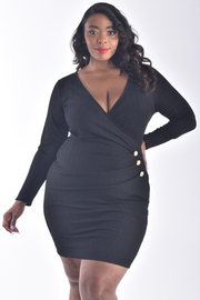 PLUS SIZE LONG SLEEVE BIG BUTTON SIDE DETAIL DRESS