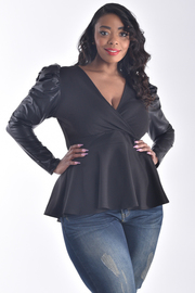 PLUS SIZE FAUX LEATHER SOLID PUFF SLEEVE TOP
