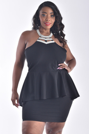PLUS SIZE PEPLUM DRESS WITH JEWELY DETAIL NECK