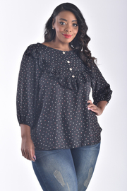 PLUS SIZE 3/4 PUFF SLEEVE RUFFLE DETAIL FRONT TOP