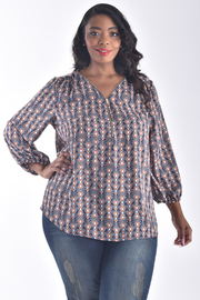 PLUS SIZE V-NECK LONG PUFF SLEEVE PRINTED TOP