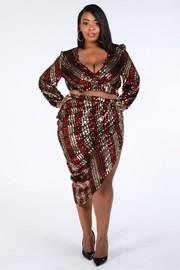 Plus Size Stripe Sequin Sets.