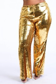 Plus Size Sequined flare pants.