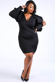Plus Size Super shoulder super techno dress.
