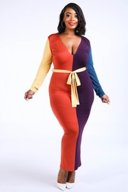 Plus Size Colorblocked maxi dress.