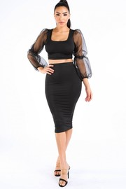 Organza oversized sleeve top & skirt set.
