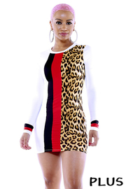 Plus Size Color Block long sleeve bodycon dress.