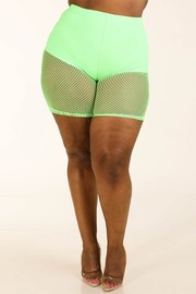 Plus Size Fishnet biker shorts.