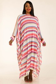 Plus Size Multi stripe woven coverup.
