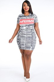 Plus Size Newspaper printed top & mini skirt set.
