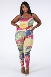 Plus Size Printed top & leggings set.