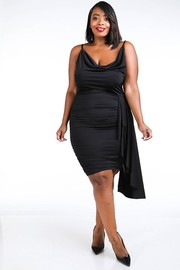 Plus Size Crystal satin cowl tank dress.