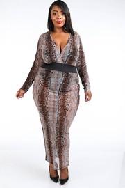 Plus Size Snake printed mesh maxi dress.