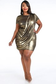 Plus Size Draped metallic mini dress.