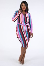 Plus Size Multi stripe zip up dress.