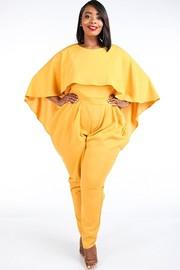 Plus Size Cape style harem jumpsuit.