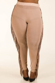 Plus Size Fringe mesh leggings.