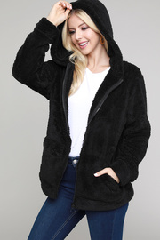 Casual long sleeve warm cozy open front bomber jacket solid teddybear fur jacket.