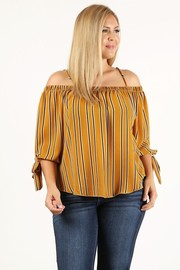 Plus Size Striped off the shoulder top with relaxed fit and bow detail at the sleeves.