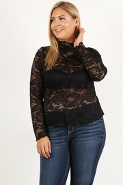 Plus Size Lace long sleeve top with fitted bodice, sheer, and mock necklin.