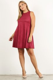 Plus Size Solid print faux suede tank dress with relaxed fit and round neck.