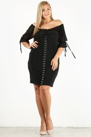 Plus Size Solid print shot dress with hardwear corset detail and off the shoulder sleeves.