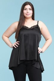 Plus Size curvy, stretch satin relaxed swing cami, with hi-low hem and v-neck lace trim.