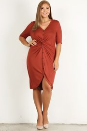 Plus Size Solid, bodycon midi dress with button-down closure, gathered bust, and a hi-lo hem.