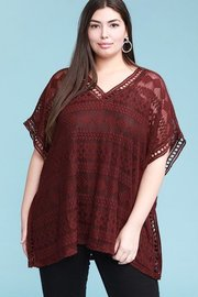 Plus Size Curvy, embroidered lace poncho with crochet trimming detail, relaxed fit kimono.
