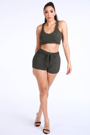 Textured Knitted tank top short set.