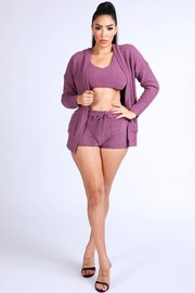 Textured Knitted tank top short cardigan set.