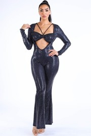 Bikini top long sleeve jumpsuit.