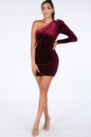 One shoulder velvet dress.