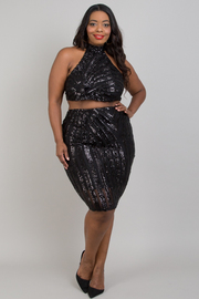 Plus Size Patterned Sequins Skirts sets.