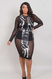 Plus Size Sequins dress with mesh insets.