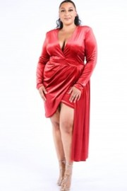 Plus Size Deep V draped velvet dress.
