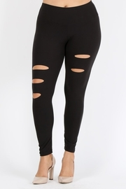 Plus Size High waist ripped stretch leggings.