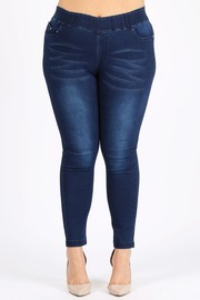 Plus Size Stretchy Denim fabric with whiskered wash.